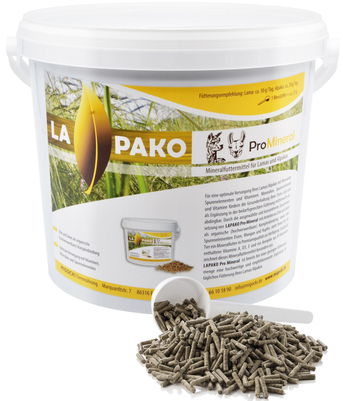 Produkt Lapako Pro Mineral Alpaka pelletiert