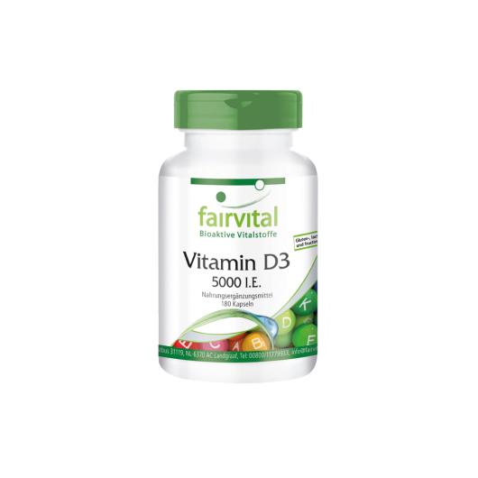 Vitamin D3 5000 I. E. - 180 Kapseln für Sie und Ihn